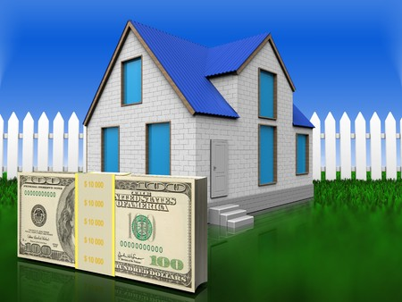 3d illustration of home with money over grass and fence background