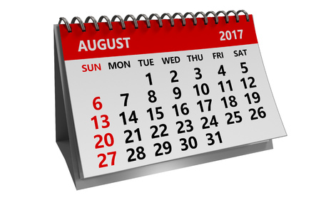 3d illustration of august 2017 calendar isolated over white background