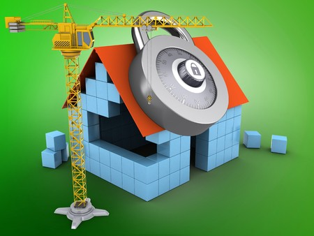 3d illustration of block house over green background with code lock and crane Stock Photo