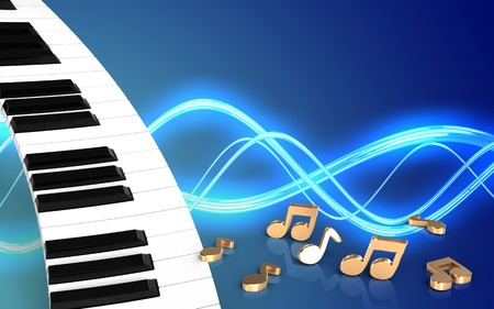 3d illustration of piano keyboard over sound background with notes