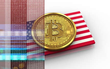 3d illustration of bitcoin over white background with USA flag Stock Photo