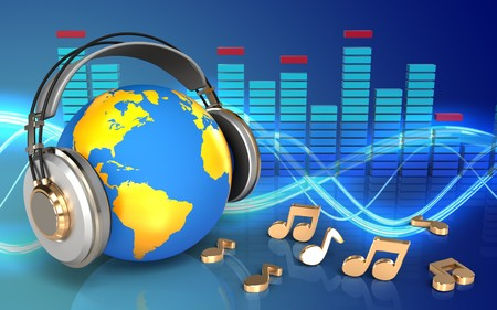 3d illustration of world in headphones over sound background with notes