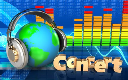 3d illustration of earth in headphones over cyber background with concert sign