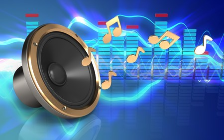 3d illustration of loud speaker over sound waves blue background with notes