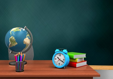 3d illustration of schoolboard with alarm clock and globe Stock Photo
