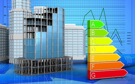 refelction: 3d illustration of modern building frame with urban scene over graph background