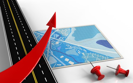 3d illustration of blue map with red arrow and red pins Stock Photo