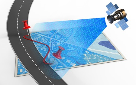 3d illustration of blue map with pins and route and