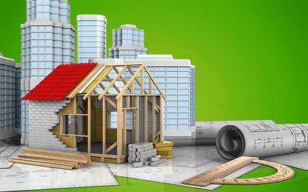 3d illustration of frame house with urban scene over green background
