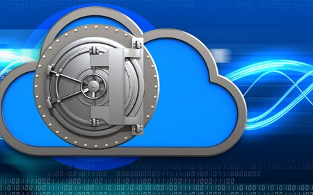 3d illustration of cloud with steel bank door over digital waves background