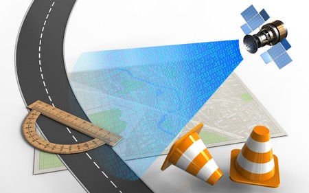 3d illustration of bright map with protractor and repair cones Stock Photo