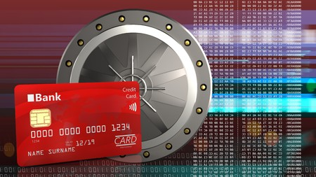 3d illustration of valut door over red cyber background with bank card