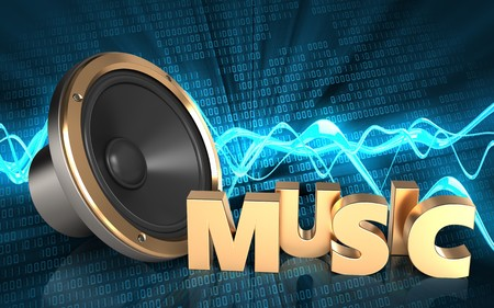 3d illustration of loud speaker over sound wave digital background with music sign
