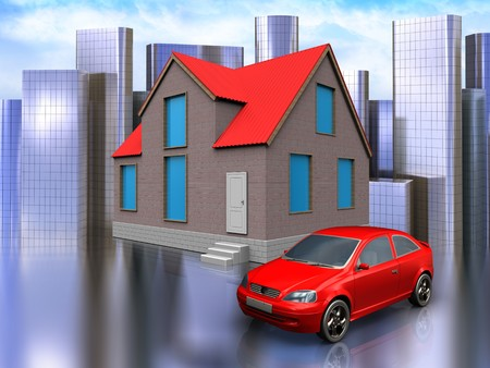 3d illustration of house with car over city background