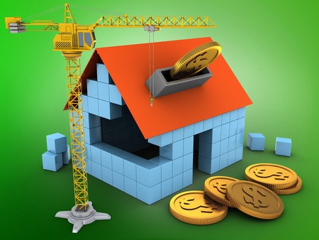 3d illustration of block house over green background with coins and crane