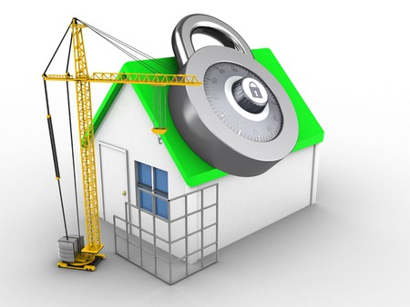 3d illustration of simple house over white background with code lock and construction site Stock Photo