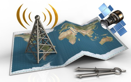3d illustration of world map with antenna and gps satellite