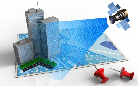 3d illustration of blue map with city buildings and satellite digital signal Stock Photo