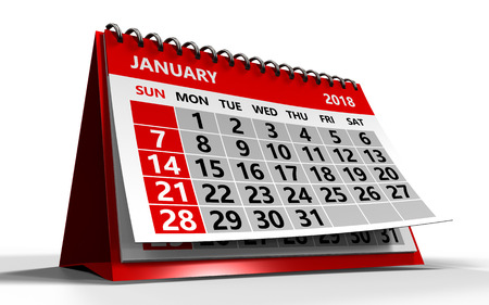 january 1st: 3d illustration of january 2018 calendar over white background with shadow