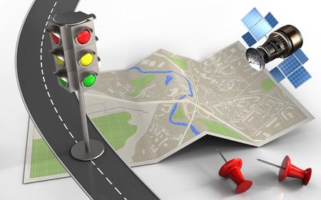 3d illustratie van kaartdocument met verkeerslicht en rode spelden