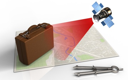 map case: 3d illustration of bright map with luggage and satellite