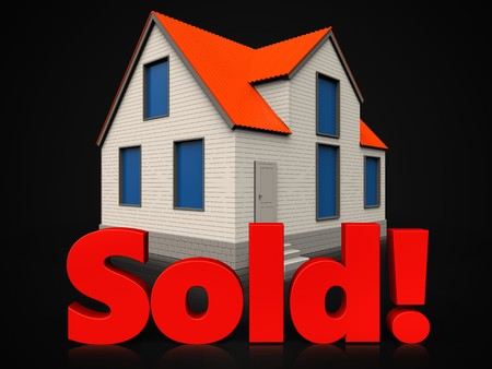 3d illustration of cottage house with sold sign over black background