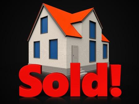 3d illustration of cottage house with sold sign over black background