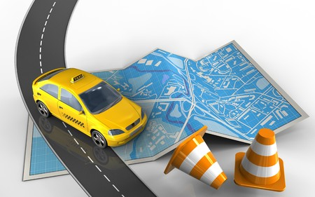 3d illustration of city map with taxi and repair cones