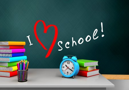 3d illustration of schoolboard with love school text and alarm clock