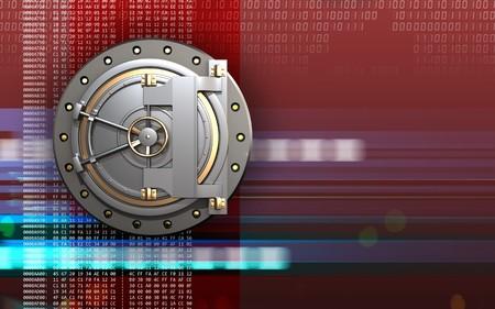 3d illustration of bank door  over digital red background