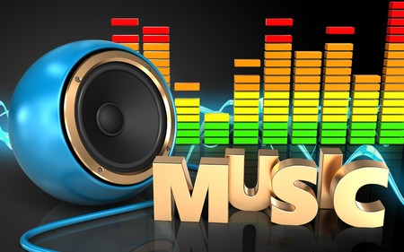 3d illustration of blue sound speaker over sound wave black background with music sign