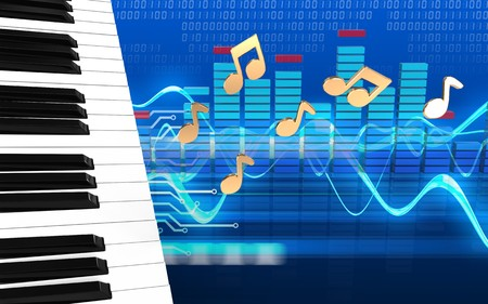 3d illustration of piano keys over cyber background with notes Stock Photo