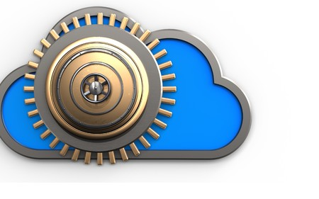 3d illustration of cloud with golden vault door over white background Stock Photo