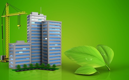 3d illustration of living quarter with crane over green background Stock Photo