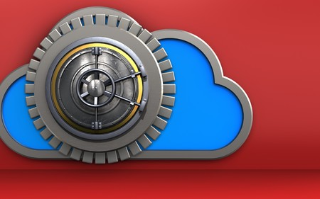 3d illustration of cloud with wheel door over red background