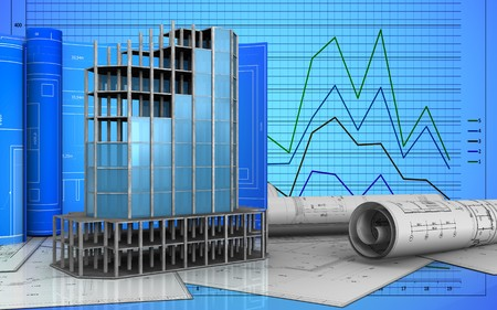 refelction: 3d illustration of modern building frame with drawing roll over graph background Stock Photo