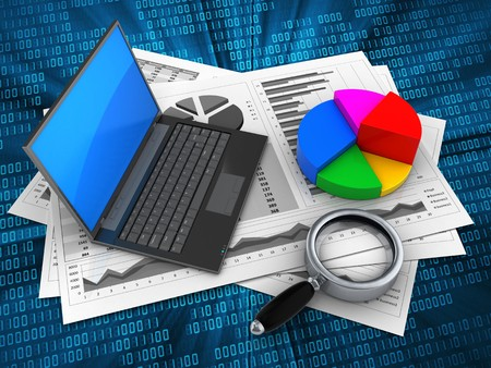 3d illustration of business charts and black laptop over digital background with pie chart