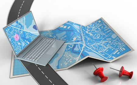 3d illustration of city map with computer and red pins