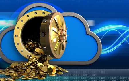 3d illustration of cloud with golden coins over digital waves background Stock Photo