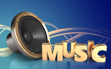 3d illustration of loud speaker over wave blue background with music sign Stock Photo