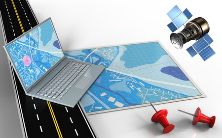3d illustration of blue map with computer and red pins