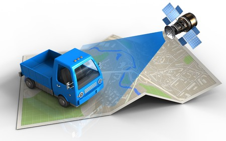 antena parabolica: 3d illustration of map paper with truck and satellite Foto de archivo