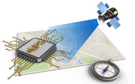 3d illustration of bright map with gps chip and satellite