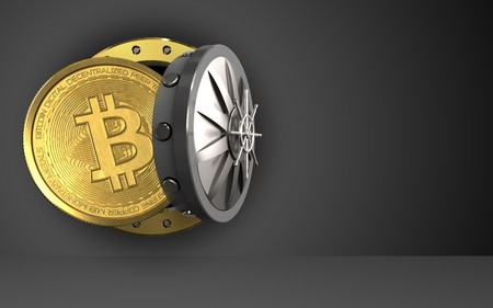 peer to peer: 3d illustration of bitcoin storage over black background