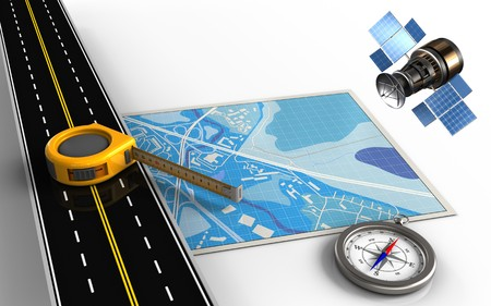 lying forward: 3d illustration of blue map with measure tool and compass Stock Photo