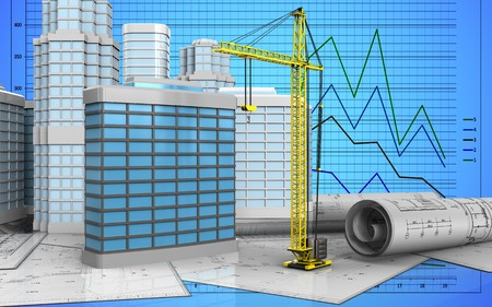 3d illustration of generic building with urban scene over graph background Stock Photo
