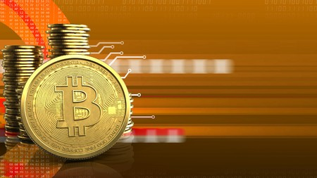 3d illustration of coins over orange cyber background with bitcoin Фото со стока