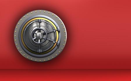 3d illustration of wheel door  over red background