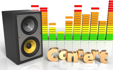 3d illustration of sound system over white background with concert sign