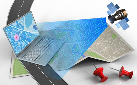 3d illustration of map paper with computer and red pins